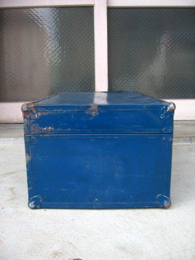画像2: トランク スーツケース 中型 ブルー 鍵付き 店舗什器に アンティーク ビンテージ