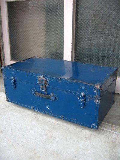 画像1: トランク スーツケース 中型 ブルー 鍵付き 店舗什器に アンティーク ビンテージ