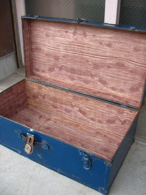 other photographs.1: トランク スーツケース 中型 ブルー 鍵付き 店舗什器に アンティーク ビンテージ