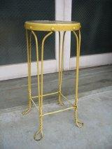 1910'S 20'S アイスクリームパーラーチェア ハイスツール ツイスト アイアンレッグ ウッド×アイアン イエロー アンティーク ビンテージ