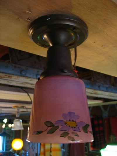 画像2: シーリングライト 1灯 色付きガラスシェード ハンドペイント フラッシュマウント アンティーク ビンテージ その2