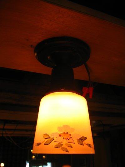 画像1: シーリングライト 1灯 色付きガラスシェード ハンドペイント フラッシュマウント アンティーク ビンテージ その2