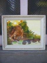 タイガー 虎 絵画 ビクトリアンホワイトウッドフレーム 装飾 壁掛け ピクチャーフレーム 額縁 アンティーク ビンテージ