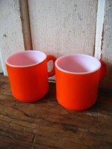 マグカップ スタッキングマグ ミルクガラス オレンジ アンティーク ビンテージ