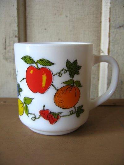 画像1: マグカップ ミルクガラス プリントマグ フルーツ柄 アンティーク ビンテージ