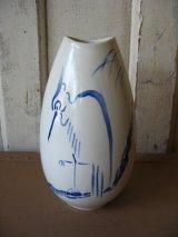 花瓶 絵柄 サギ 鳥 フラワーベース 陶器 雪舟みたいです。 アンティーク ビンテージ