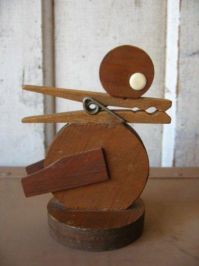 画像3: ペーパークリップ 鳥 オブジェ ウッド folkart フォークアート アンティーク ビンテージ