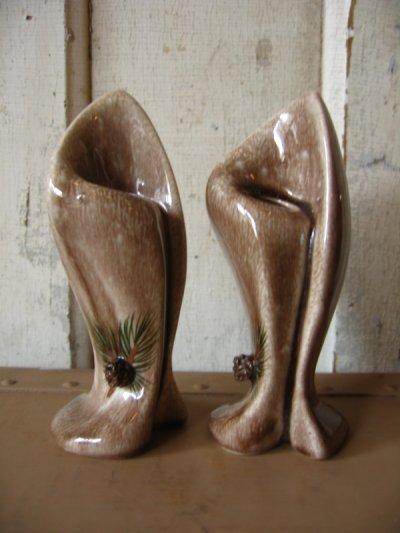 画像1: 花瓶 一輪挿し フラワーベース 陶器 Pine cones パイン ハンドペインテッド アンティーク ビンテージ