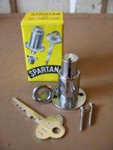 ドアロック SPARTAN 引き戸 錠 SLIDING DOOR LOCK デッドストック スチール クロームメッキ アンティーク ビンテージ