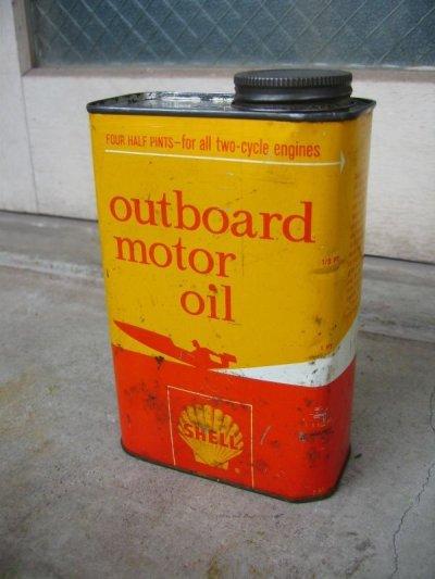 画像1: ティン缶 SHELL シェル オイル缶 アンティーク ビンテージ