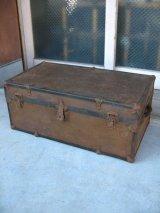 メタルトランク 中型 スーツケース シャビー 店舗什器に アンティーク ビンテージ