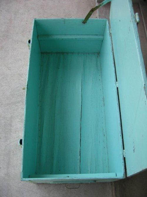 other photographs.2: ウッドボックス ペパーミントグリーン 木箱 ツールボックス ストレージボックス 取手付き シャビーペイント アンティーク ビンテージ
