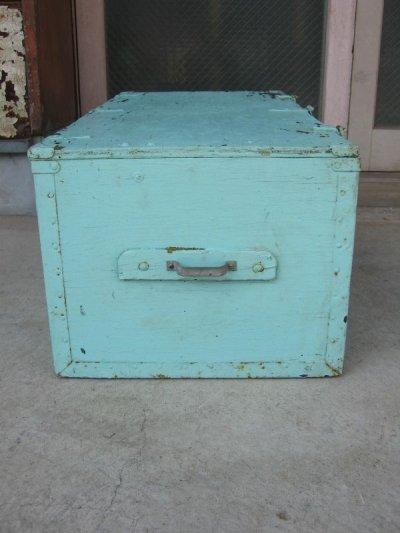 画像2: ウッドボックス ペパーミントグリーン 木箱 ツールボックス ストレージボックス 取手付き シャビーペイント アンティーク ビンテージ