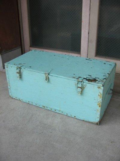 画像1: ウッドボックス ペパーミントグリーン 木箱 ツールボックス ストレージボックス 取手付き シャビーペイント アンティーク ビンテージ