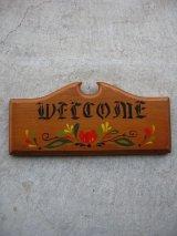 WELCOME ウェルカムボード 表札 絵柄 ウッド 壁掛け ウォールオーナメント アンティーク ビンテージ
