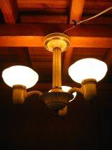 1920'S シーリングライト アールデコ 3灯 ミルクガラスシェード シャンデリア  装飾 アイアン アンティーク ビンテージ