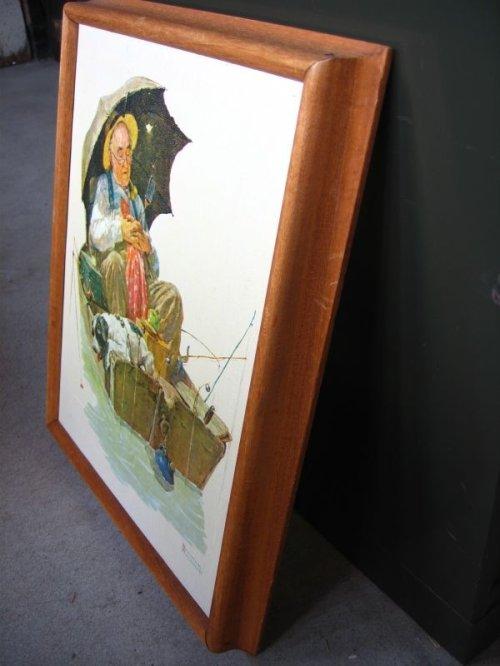 other photographs.3: ノーマンロックウェル Gone Fishing Norman Rockwell ウッドフレーム 壁掛け ウォールオーナメント アンティーク ビンテージ