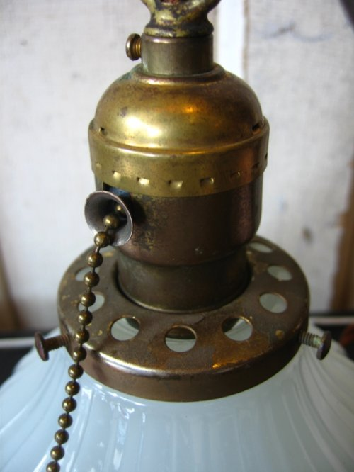 other photographs.3: シーリングライト 1灯 へヴィーミルクガラスシェード ペンダントライト 真鍮 アンティーク ビンテージ
