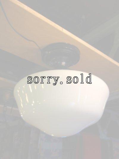画像2: 1920'S アーリーセンチュリー ミルクガラスシェード スクールハウスシーリング フラッシュマウント 1灯 メタル アンティーク ビンテージ