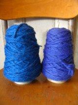 オールドBIGボビン スプール インダストリアル ローゲージ 毛糸 WOOL ウール ブルー系 2pcs set アンティーク ビンテージ