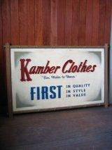 1920年代 バナー CLOTHING STORE 1920'S アド 店内看板 大型 KAMBER CLOTHES ショップサイン ウッド ペーパー 硬質厚紙 アンティーク ビンテージ