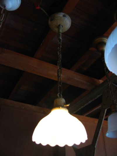 画像2: 1930年代 シーリングライト リブ付き スキャロップ オパール ミルクガラスシェード  ペンダントランプ アイアン 1灯 アンティーク ビンテージ