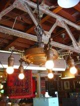 1920'S パンランプ シーリングライト アールデコ 5灯 シャンデリア ベアバルブ 装飾 真鍮 アイアン アンティーク ビンテージ