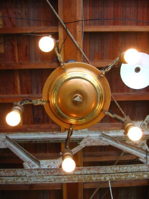 other photographs.2: 1920'S パンランプ シーリングライト アールデコ 5灯 シャンデリア ベアバルブ 装飾 真鍮 アイアン アンティーク ビンテージ