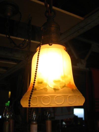 画像1: 1920'S シャビーシック シーリングライト 柄付フロストガラスシェード ペンダントランプ 真鍮 1灯 アンティーク ビンテージ