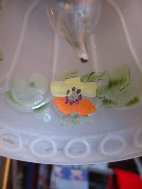 other photographs.2: 1920'S シャビーシック シーリングライト 柄付フロストガラスシェード ペンダントランプ 真鍮 1灯 アンティーク ビンテージ