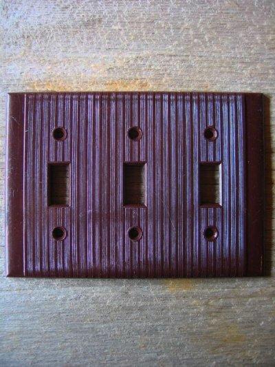 画像4: 30'S 40'S アメリカのスイッチプレート ベークライト ブラウン アイボリー 3口 アンティーク ビンテージ