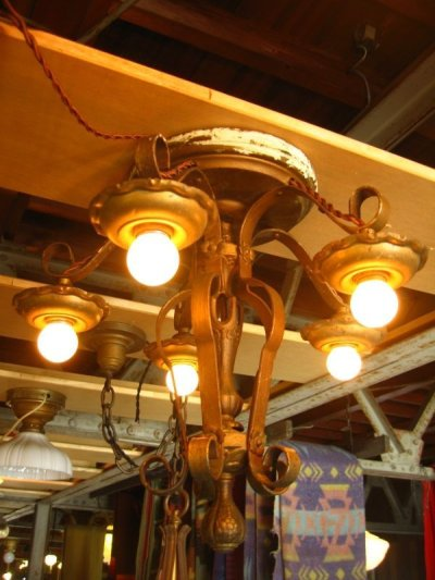 画像1: 1920'S シーリングライト ビクトリアン アールデコ 5灯 シャンデリア ベアバルブ 装飾 アイアン 真鍮メッキ アンティーク ビンテージ