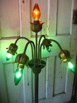 1910'S 20'S フロアランプ アーリーセンチュリー フラワーモチーフ 装飾 5灯 真鍮 アイアン アンティーク ビンテージ
