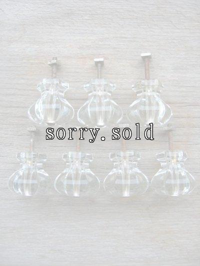 画像1: アーリーセンチュリー 取っ手 取手 引き手 ドロワープル クリアガラス 7pcs set アンティーク ビンテージ