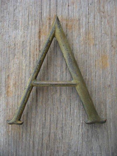 """画像2: 1930'S 40'S ブロンズ アルファベットレター 大 """" A L M N O T U """" 銅 シャビーシック アンティーク ビンテージ"""