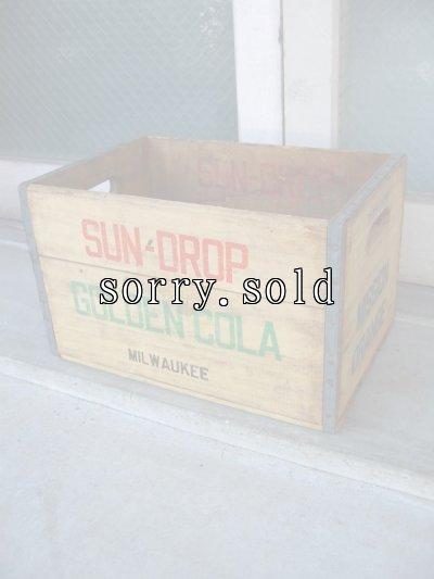 画像1: ボトルクレート SUN-DROP GOLDEN COLA ボトルケース ウッドボックス 木箱 アドバタイジング アンティーク ビンテージ