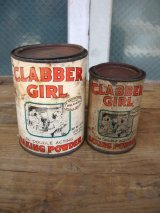 ティン缶 2個セット CLABBER GIRL 蓋付き ベーキングパウダー 2pcs set アドバタイジング アンティーク ビンテージ