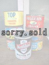 タバコ缶 ナッツ缶 コーヒー缶 オイル缶 ティン缶 蓋無し アドバタイジング ショップディスプレイなどに アンティーク ビンテージ