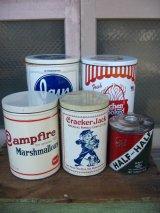 ポテトチップス缶 マシュマロ缶 クラッカー缶 タバコ缶 ティン缶 ダストボックス アドバタイジング ショップディスプレイなどに アンティーク ビンテージ