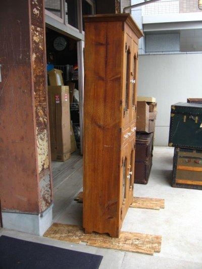 画像2: カップボード カントリー ウッドキャビネット 水屋 食器棚 上2段 下2段 2列ドロワー ウッド メッシュ ポーセリン アンティーク ビンテージ