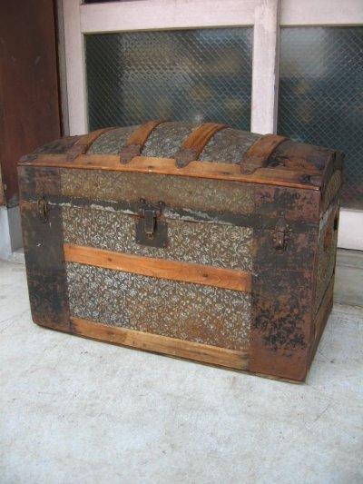 画像1: トランク 大型 スーツケース ドームトップ 店舗什器に アンティーク ビンテージ