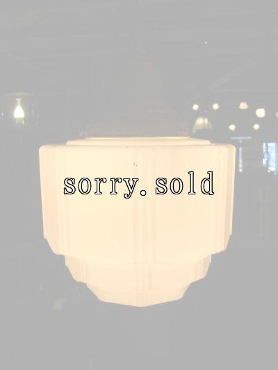 画像2: スカイスクレイパーシェード アールデコ    ペンダントランプ ミルクガラスシェード 1灯 真鍮 アンティーク ビンテージ