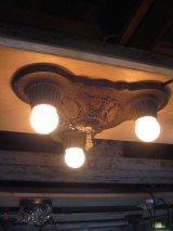 1910's  20's    ビクトリアン フラッシュマウント シーリングランプ ベアバルブ 装飾 3灯 チャーム付き アイアン 鋳物 アンティーク ビンテージ
