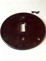 アメリカのスイッチプレート 円形 ベークライト ブラウン 1口 アンティーク ビンテージ
