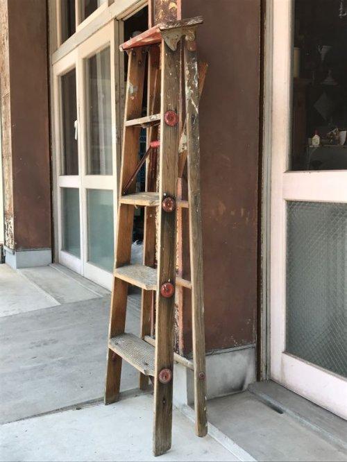 other photographs.3: ウッド ステップラダー ラダー はしご 梯子 木製 脚立 大型 5段 アンティーク ビンテージ
