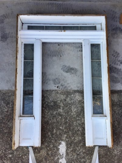 画像2: 1880's 1890's 1900's    ドアケーシング ドア枠    フルセット    ファサード   入口 エントランス トランザムウインドウ   サイドウインドウ付き ウッド アンティーク ビンテージ