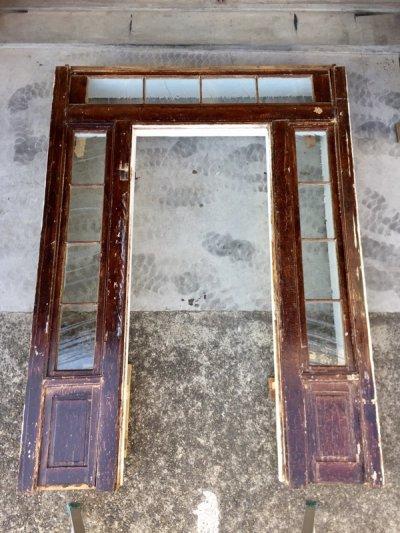 画像1: 1880's 1890's 1900's    ドアケーシング ドア枠    フルセット    ファサード   入口 エントランス トランザムウインドウ   サイドウインドウ付き ウッド アンティーク ビンテージ
