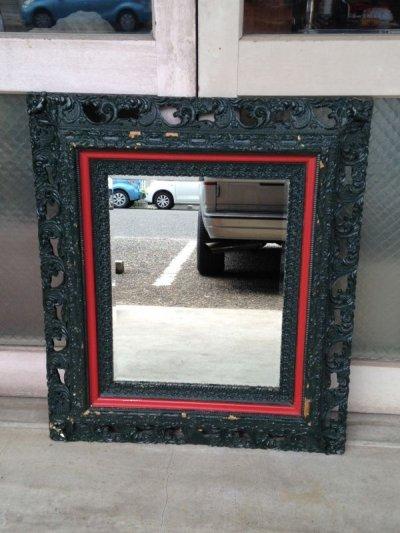 画像2: ウッドフレームミラー 大型 ビクトリアン 装飾 鏡 ミラー ブリティッシュグリーン アンティーク ビンテージ