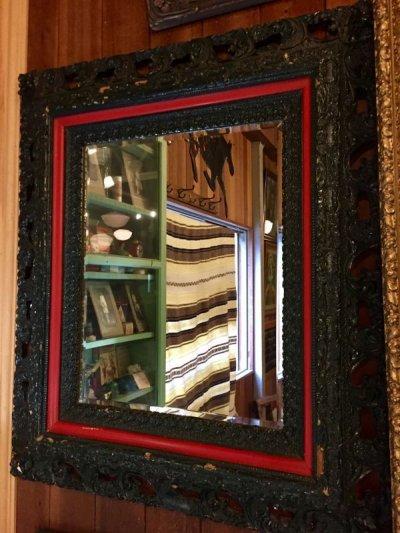 画像1: ウッドフレームミラー 大型 ビクトリアン 装飾 鏡 ミラー ブリティッシュグリーン アンティーク ビンテージ