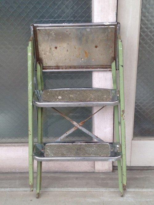 other photographs.2: スチールステップラダー はしご 脚立 小型 3段 クロームメッキ アンティーク ビンテージ
